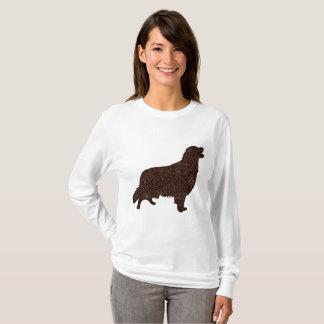 Camiseta T-shirt longo básico da luva das mulheres com