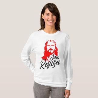 Camiseta T-shirt longo básico da luva das mulheres de Jesus