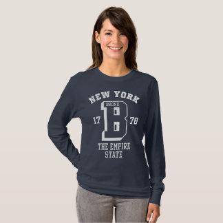 Camiseta T-shirt longo básico da luva das mulheres de New