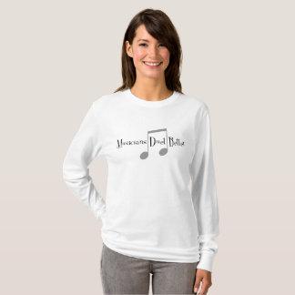 Camiseta T-shirt longo básico da luva das mulheres do dueto