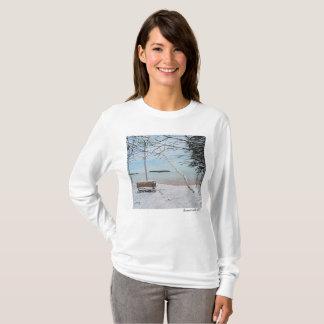 Camiseta T-shirt longo básico da luva das primeiras
