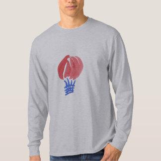 Camiseta T-shirt longo básico da luva dos homens do balão