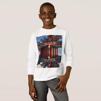 Camiseta T-shirt longo básico da luva dos miúdos