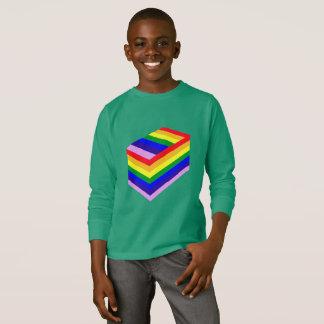 Camiseta t-shirt longo básico da luva dos miúdos da caixa