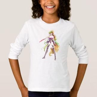 Camiseta T-shirt longo branco da luva da mulher do
