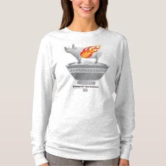 Camiseta T-shirt longo da luva da cinza da barriga de porco