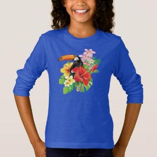 Camiseta T-shirt longo da luva da colagem tropical de
