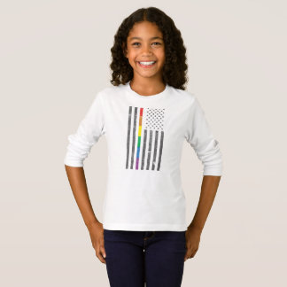 Camiseta T-shirt longo da luva da menina americana da