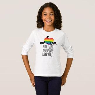 Camiseta T-shirt longo da luva da menina do ódio do amor