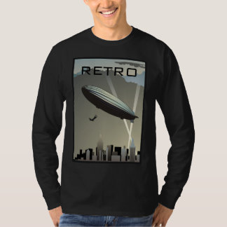Camiseta T-shirt longo da luva da skyline retro do zepelim