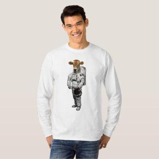 Camiseta T-shirt longo da luva da vaca do espaço