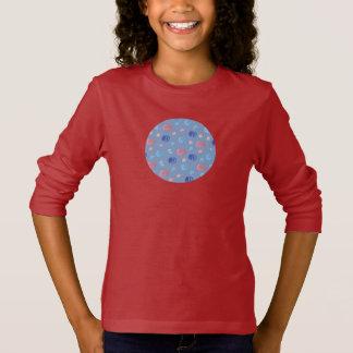 Camiseta T-shirt longo da luva das meninas chinesas das