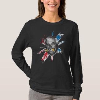 Camiseta T-shirt longo da luva das mulheres negras da