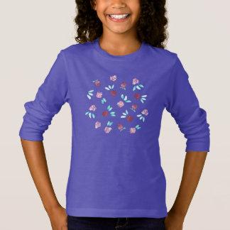 Camiseta T-shirt longo da luva de meninas de flores do