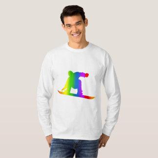 Camiseta T-shirt longo da luva do arco-íris colorido da