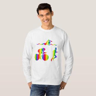 Camiseta T-shirt longo da luva do arco-íris colorido do