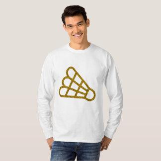 Camiseta T-shirt longo da luva do Badminton dourado