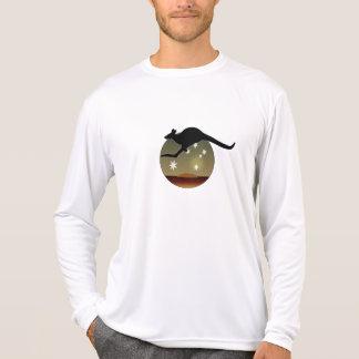 Camiseta T-shirt longo da luva do canguru australiano