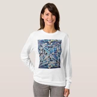 Camiseta T-shirt longo da luva do diamante de vidro das