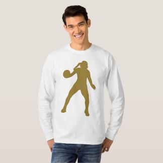 Camiseta T-shirt longo da luva do handball dourado