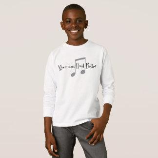 Camiseta T-shirt longo da luva do menino do dueto (notas)
