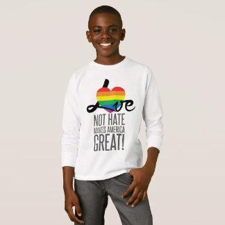 Camiseta T-shirt longo da luva do menino do ódio do amor