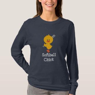 Camiseta T-shirt longo da luva do pintinho do softball