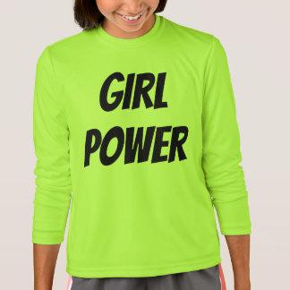 Camiseta T-shirt longo da luva do poder da menina