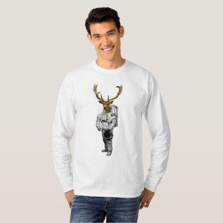 Camiseta T-shirt longo da luva dos cervos do espaço