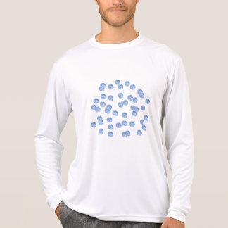 Camiseta T-shirt longo da luva dos esportes azuis de homens
