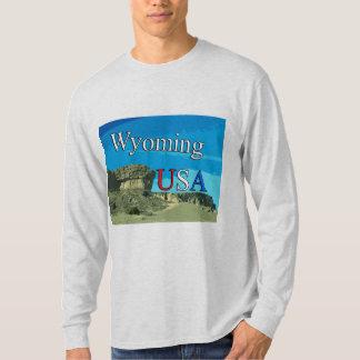 Camiseta T-shirt longo da luva dos homens de Wyoming EUA