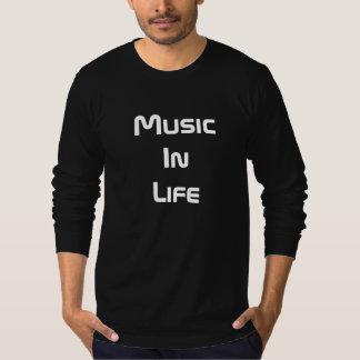 Camiseta T-shirt longo da luva dos homens - música na vida