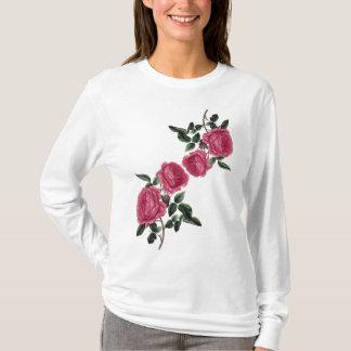 Camiseta T-shirt longo da luva dos rosas malva cor-de-rosa