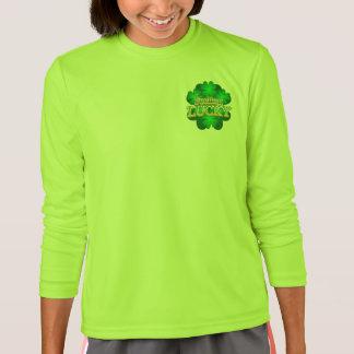 Camiseta T-shirt longo de sentimento da luva do verde