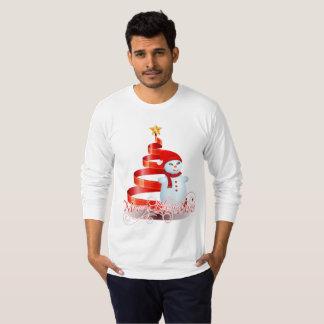 Camiseta T-shirt longo do boneco de neve do Natal da luva