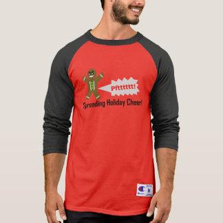 Camiseta T-shirt longo do Natal do homem de pão-de-espécie