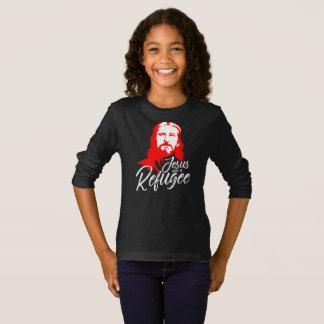 Camiseta T-shirt longo escuro da luva da menina de Jesus