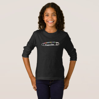 Camiseta T-shirt longo escuro da luva da menina do