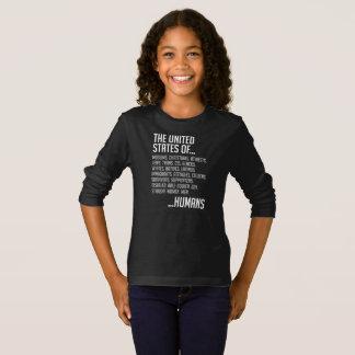 Camiseta T-shirt longo escuro da luva da menina dos Estados
