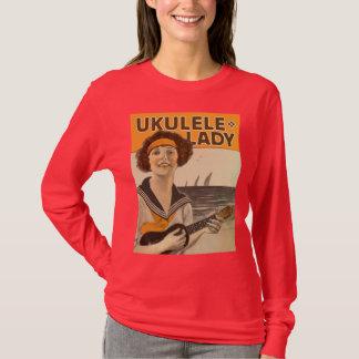 Camiseta T-shirt longo escuro da luva das senhoras da