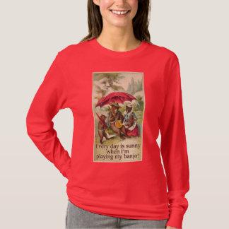 Camiseta T-shirt longo escuro da luva das senhoras do urso