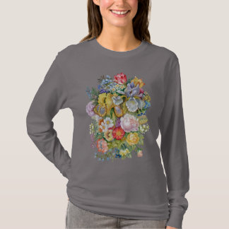 Camiseta T-shirt longo escuro da luva do buquê da flor
