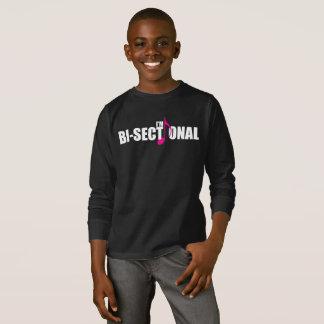 Camiseta T-shirt longo escuro da luva do menino Bisectional
