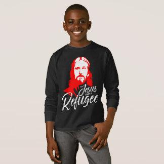 Camiseta T-shirt longo escuro da luva do menino de Jesus