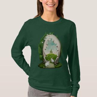 Camiseta T-shirt longo escuro da luva dos coelhos do ovo da