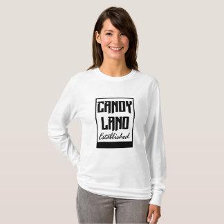 Camiseta T-shirt longo estabelecido terra da luva dos doces