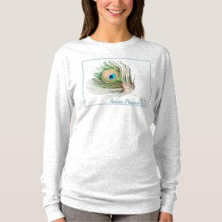 Camiseta T-shirt longo Nano da luva de Hanes de 0101 pavões