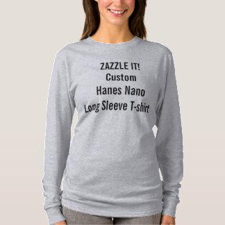 Camiseta T-shirt longo Nano da luva do Hanes das mulheres