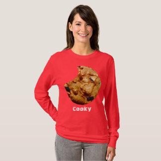 Camiseta T-shirt longo vermelho da luva de Cooky