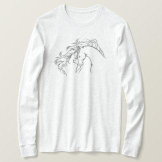 Camiseta T-shirt longo Windswept da luva das mulheres da